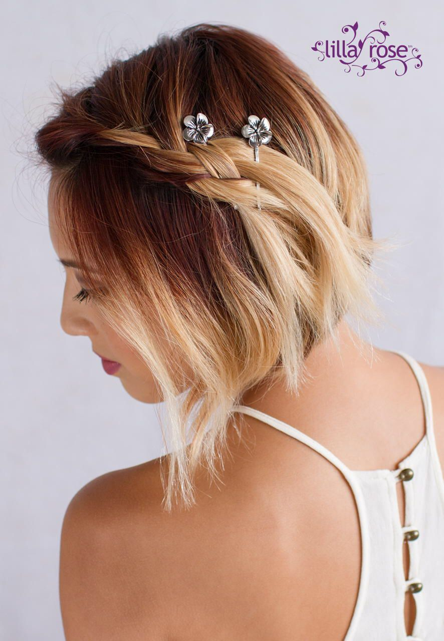 Hawaiian Flower Bobby Pins Secure Stylish Side Braid In Her Short Red To Blonde Ombre Hair Bob Hairstyles Braids For Short Hair Short Hair Updo