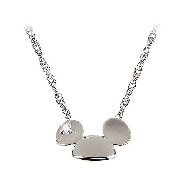 Sterling Silver and Diamond Mickey Mouse Ears Hat Necklace from the Disney Dream Collection