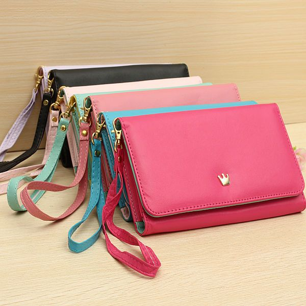08f39c8576f Premium Crown Wristlet Leather Wallet Case Cover For iPhone 6 Plus ...