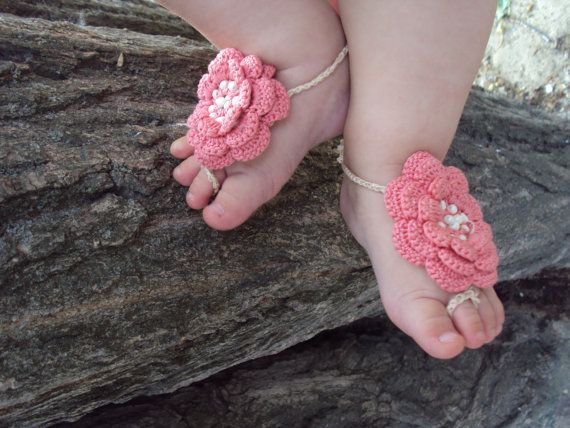 Baby Barefoot Sandals/ Crochet baby sandals- -Baby Flower sandals, crochet flower