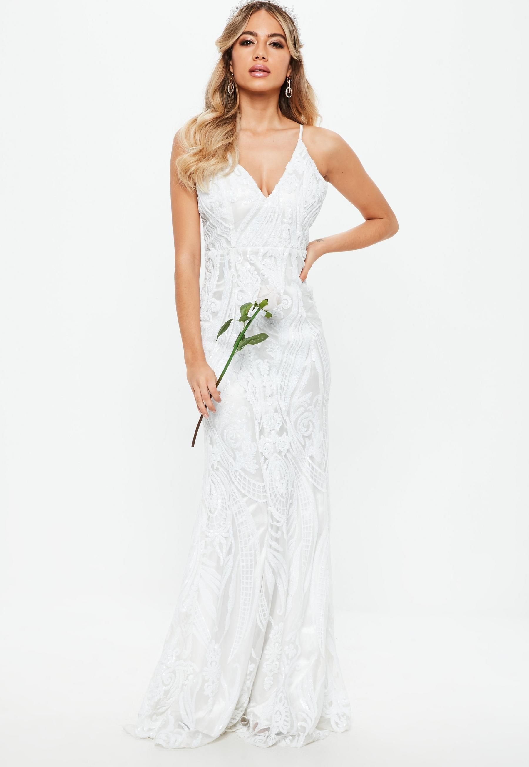 Bridal White Strappy Sequin Embellished Fishtail Maxi