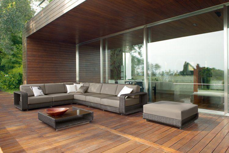 canap dangle en rsine tresse coussins marron chocolat table basse design et