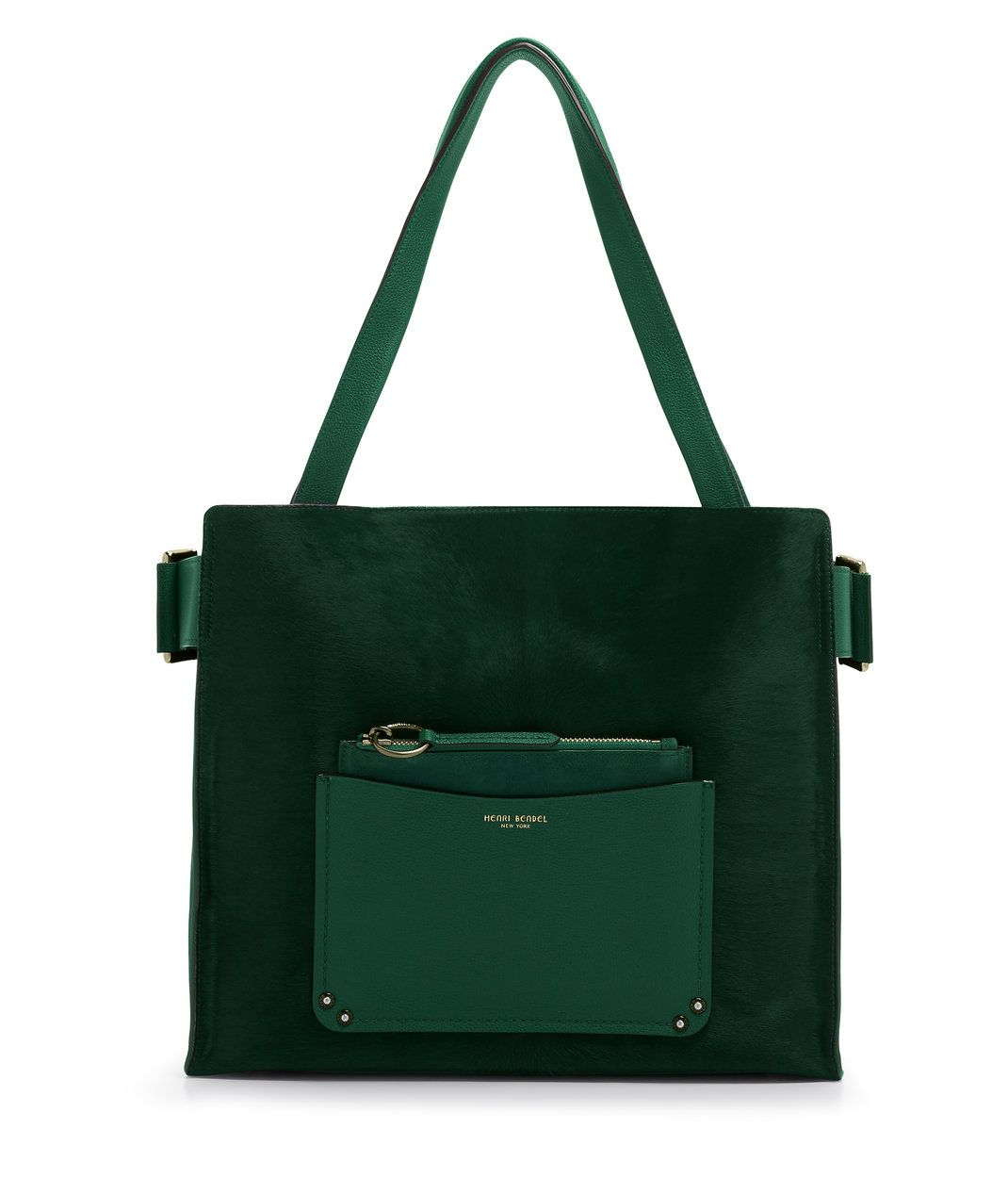 0271d18e41a7 Crafted from pebbled leather with haircalf detailing, you'll want to sling  this luxe emerald tote over your shoulder every chance you get, Bendel Girl.