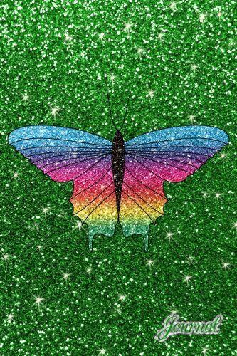 Journal: Faux green glitter rainbow glitter butterfly not ...