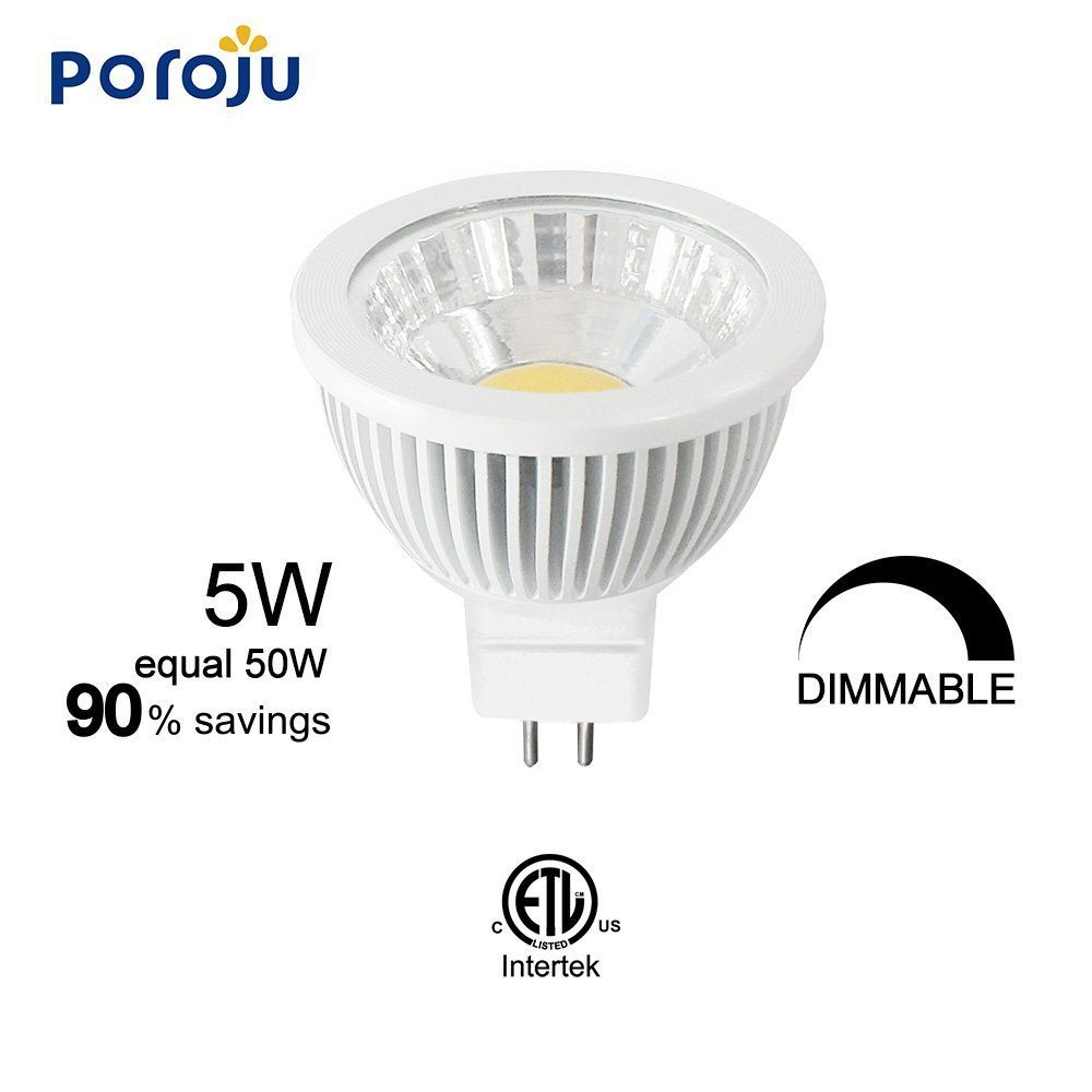 Poroju Mr16 Led Halogen Replacement Bulb Dimmable Led Gu5 3 Spot Light Bulb Cri 85 12 Volt 38 Degree Beam Angle 5w 50w Equivalent Dimmable Led Light Bulb Bulb