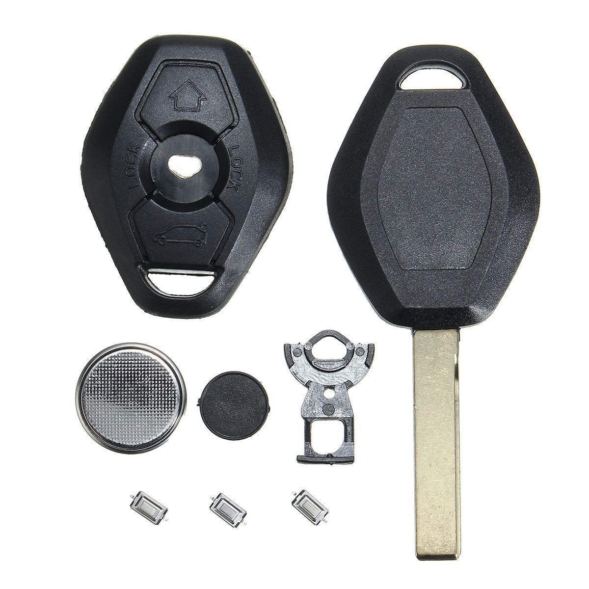3 Buttons Remote Key Fob Case Micro Switch Battery Repair Kit For