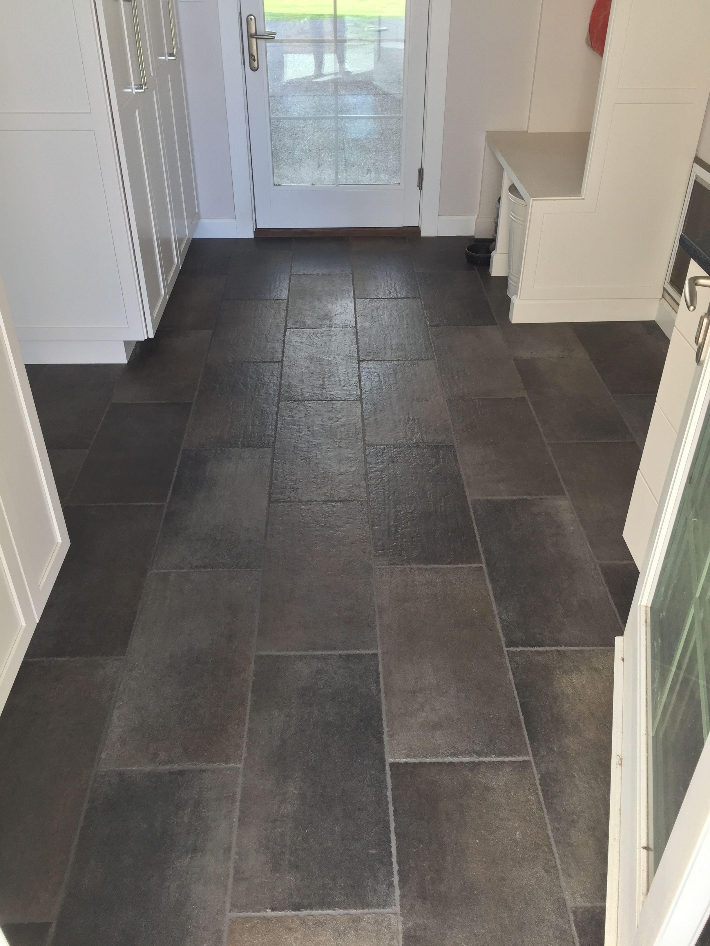 White And Grey Mudroom Large Dark Grey 12x24 Tiled Floor