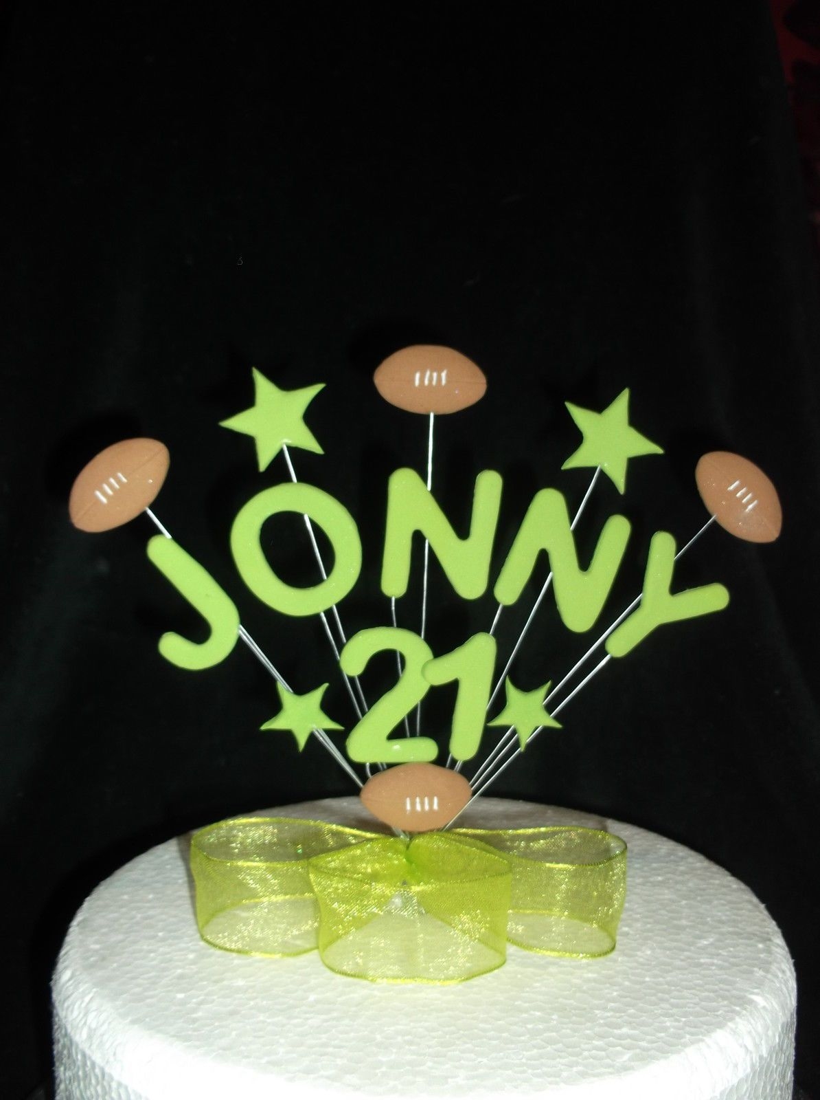 BIRTHDAY CAKE TOPPER WITH OR WITHOUT NAME RUGBY SOCCER FOOTBALL In Crafts Cake Decorating