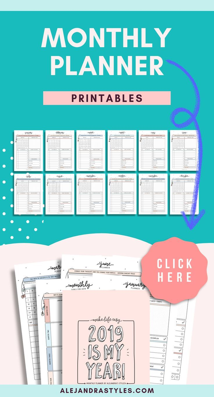 2020 Monthly Planner Printable, 2020 Calendar, Sunday