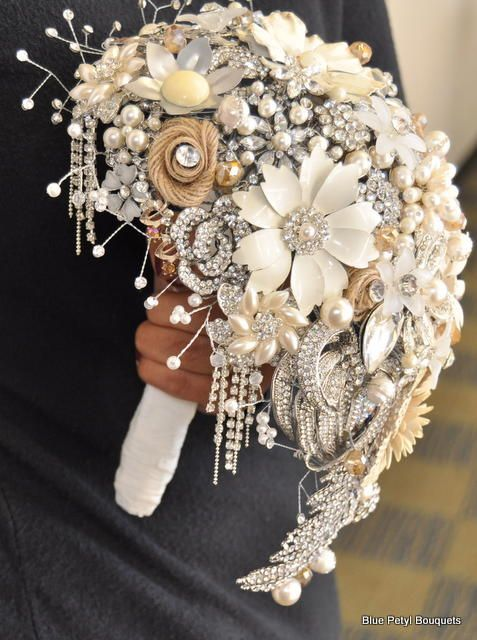 Tear Drop Vintage Brooch Bouquet By Blue Petyl Wedding Bouquet
