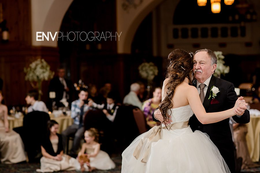 Father Daughter Dance At Wedding Reception In The Victoria Ballroom Fairmont Chateau Lake