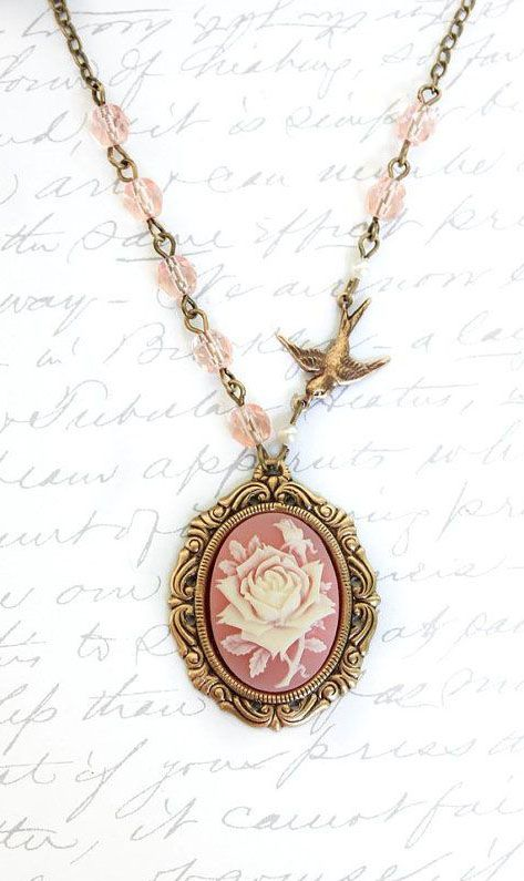 Pink cameo necklace ivory and pink rose pendant rose necklace bird pink cameo necklace ivory and pink rose pendant audiocablefo