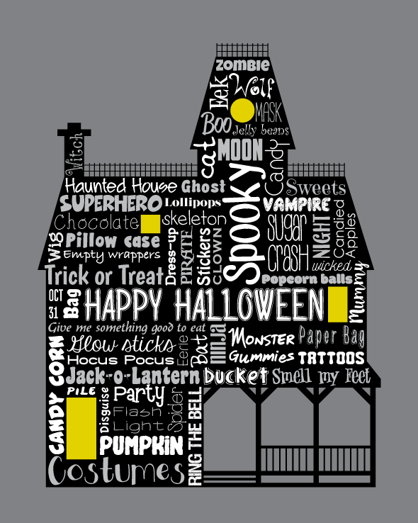 original artwork using words to describe halloween haunted house enjoy all hallows eve with this spooky haunted house using the many words for - Spooky Halloween Store