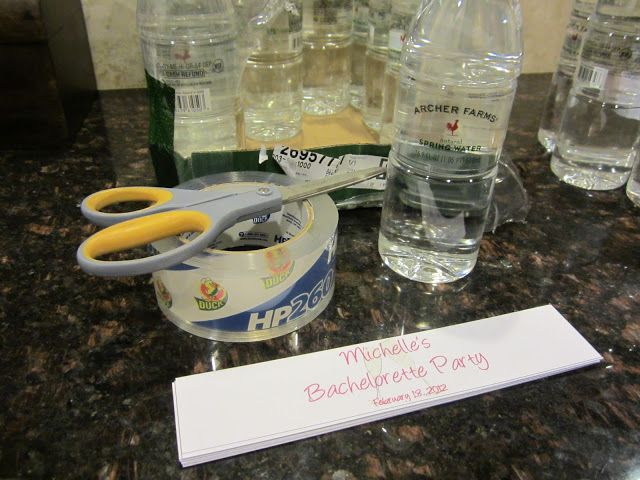 make your own labels: You'll need: Water bottles (Target's