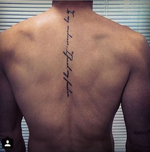 Vertical Spine Font Tattoos Men: Tatto Back Spine …in My Madness ,i Found My Freedom