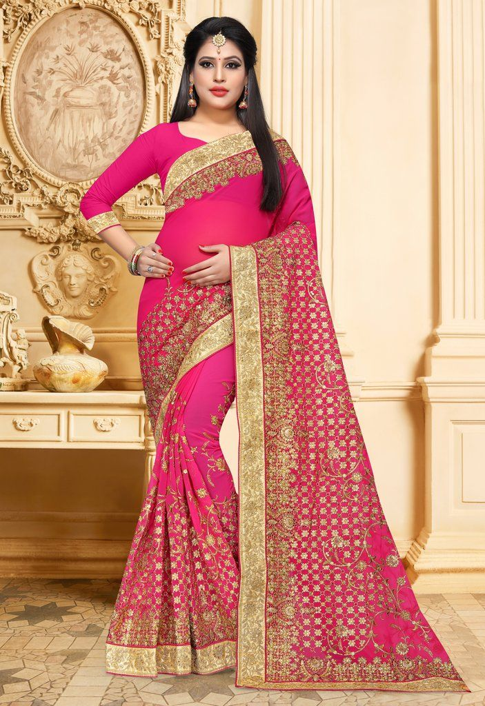705728a7d3 Pink Zari Embroidered Georgette Saree & Unstitched Blouse #Georgette #sari # saree #embroidered #designer #blouse #womans #womens #traditional #indian  ...