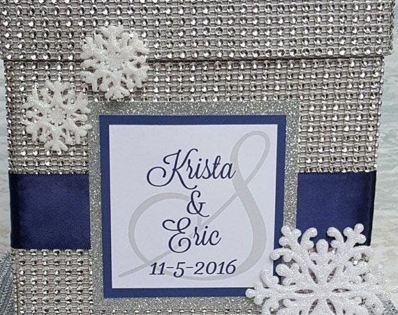 Winter Wonderland Card Box – Ihre Wahl der Farbe mit personalisierten Monogramm-Money Box Cardbox Rhin   – Products