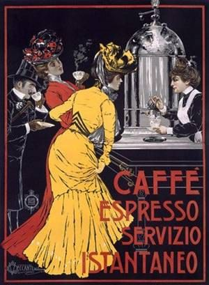 Vintage Italian Caffe Espresso Coffee Ad Giclee Art with Mounted Canvas Option on Etsy, $14.95