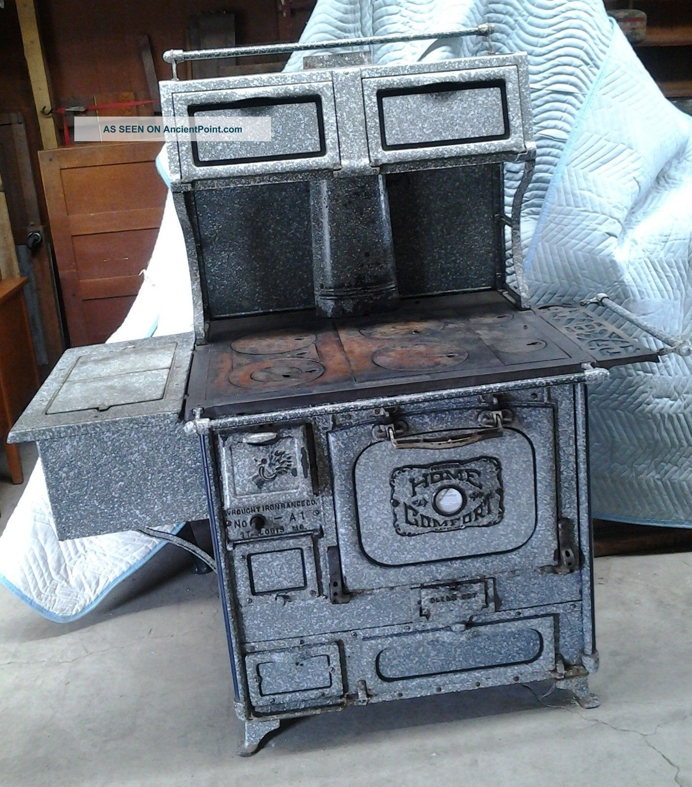 Home fort Cook Stove Speckled Gray Granite Circa 1890 Deluxe