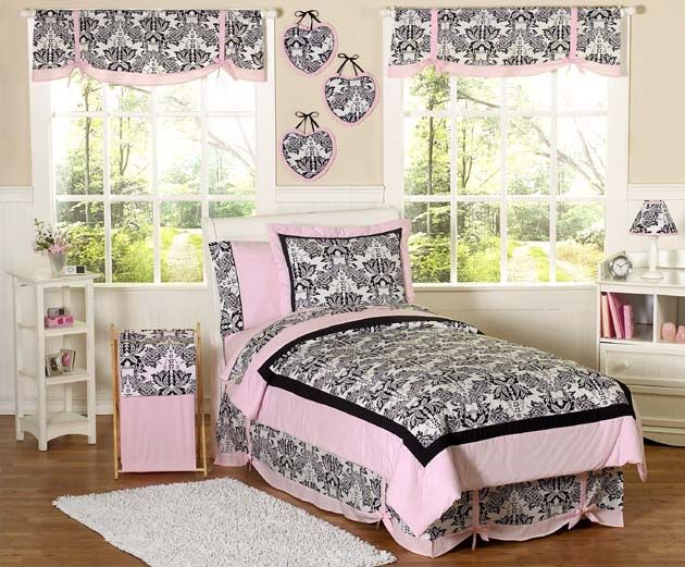Pink And Black Sophia Childrens Bedding   Twin Set Sweet Jojo Designs Sophia  Collection 4 Pc. Twin Bedding Ensemble Will Add Instant Elegance To Your ...