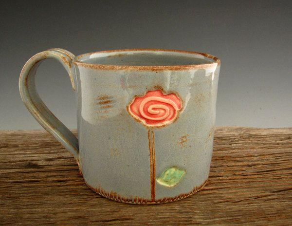 Pottery Mug with Single Red Rose - Rustic Country Blue - Large Coffee Mug - by DirtKicker Pottery.