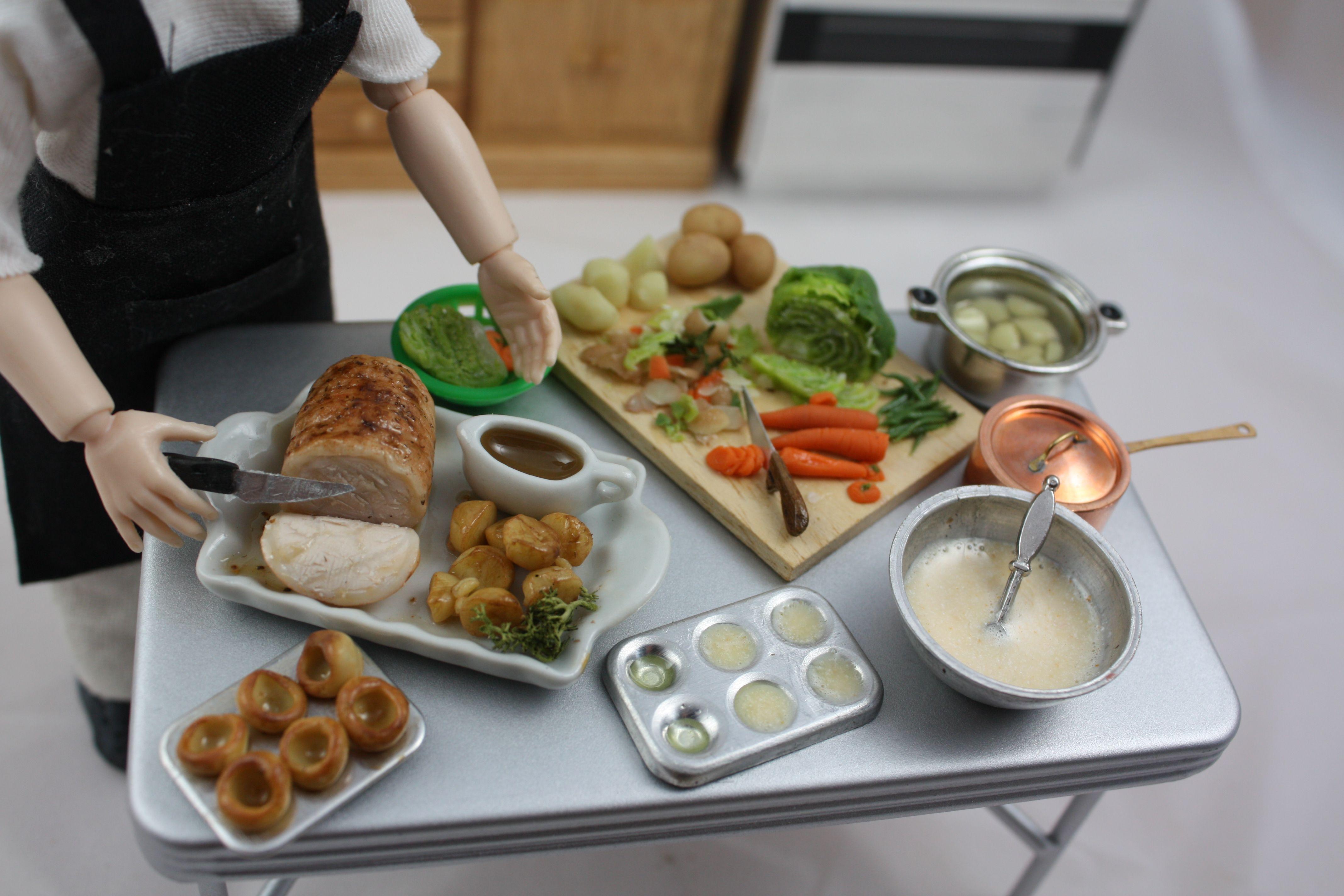 Küche stößt auf ideen dolls house food  miniature food roast dinner kitchen scene th