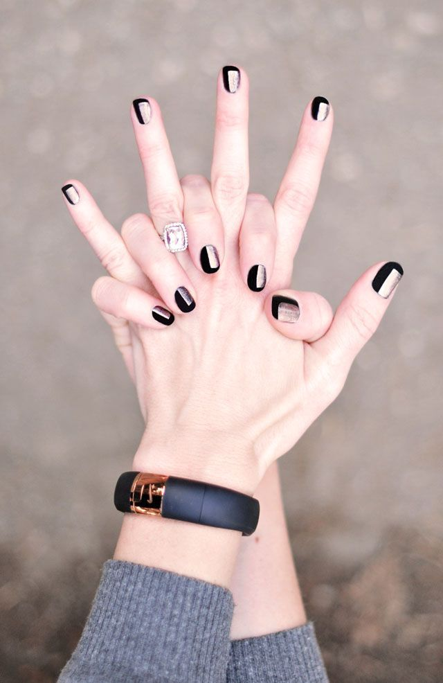 black and rose gold nails-manicure-nike fuelband | #Nail Art ...