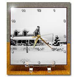 A home in black and white in Pine Valley, Utah with snow Desk Clock
