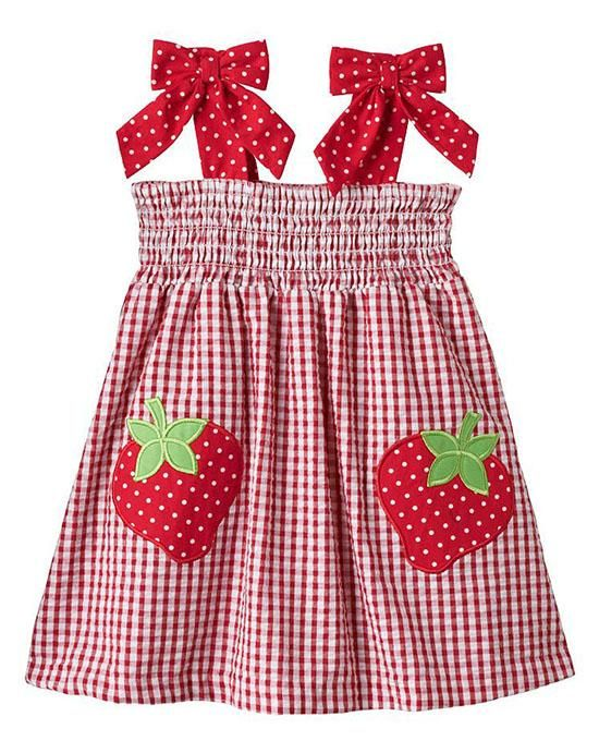 bd8c2ed61f0 Great for  summer picnics! ~ Rare Editions red gingham STRAWBERRY applique  seersucker dress with bows at shoulder straps and elasticized bodice for  comfort ...