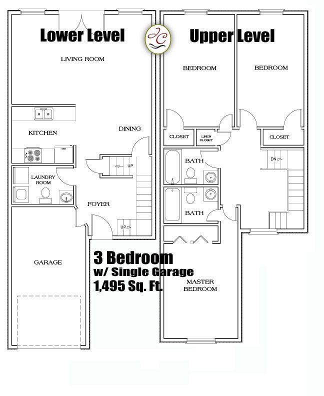 Marvelous 3 Bedroom Townhomes In Flint MI 3 Bedroom Townhouse Floor Plans