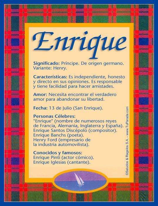 Enrique, imagen de Enrique | nombre | Pinterest
