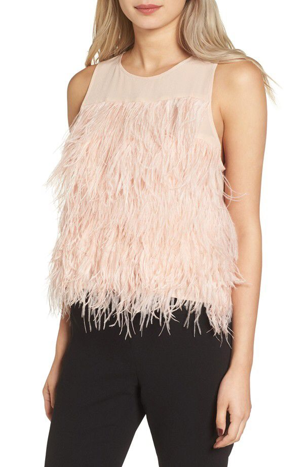 Olivia Palermo + Chelsea28 Olivia Palermo + Chelsea28 Genuine Ostrich Feather Tank available at #Nordstrom
