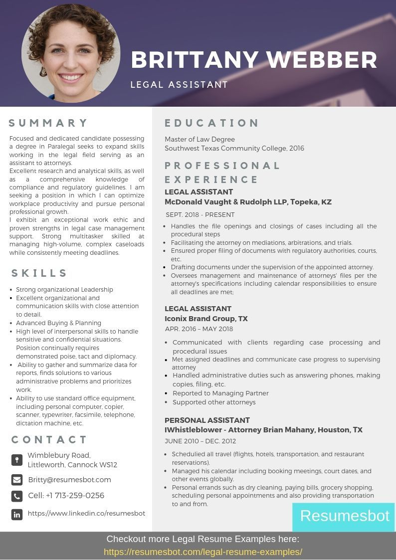 Legal Assistant Resume Samples & Templates [PDF+DOC] 2019