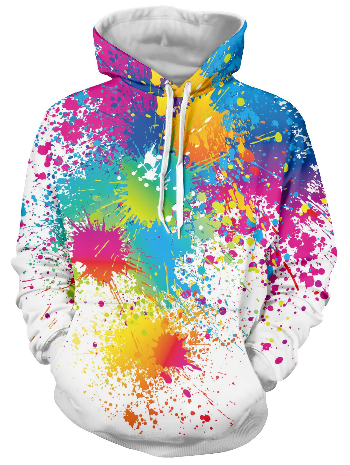 0407fb83bcf3 Paint Splatter Print Long Sleeve Pullover Hoodie