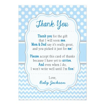 Baby Shower Thank You Card Baby Blue Polka Dots Zazzle Com Baby Shower Thank You Cards Baby Shower Thank You Polka Dot Baby Shower Ideas