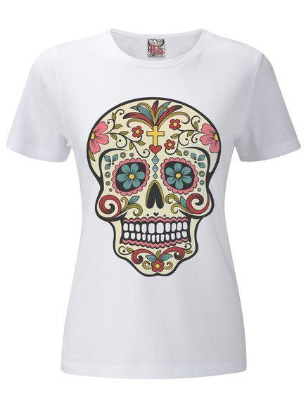 0b168f89eb85e Camiseta Feminina Caveira Mexicana em Malha Poliviscose e Estampa Digital.  Tamanho P-M-G  Medidas  P  Quadril 48cm  Cintura 41cm  Altura 62cm M   Quadril ...