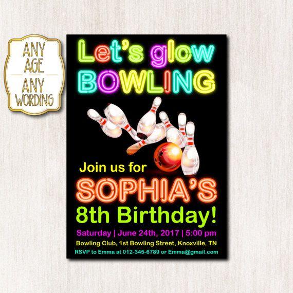 Bowling Invitation Th Birthday Invitation Bowling Birthday