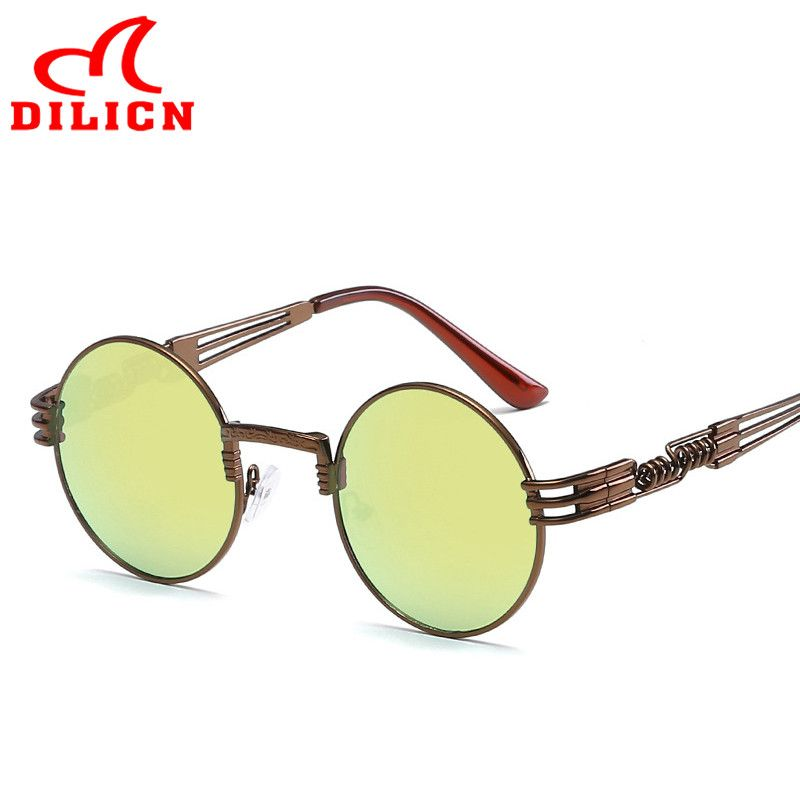 b7b5a0c98f DILICN Retro Vintage Steampunk Sunglasses Unisex Hippie Shades Hippy Lennon  Style Round Sun Glasses Gothic Steam