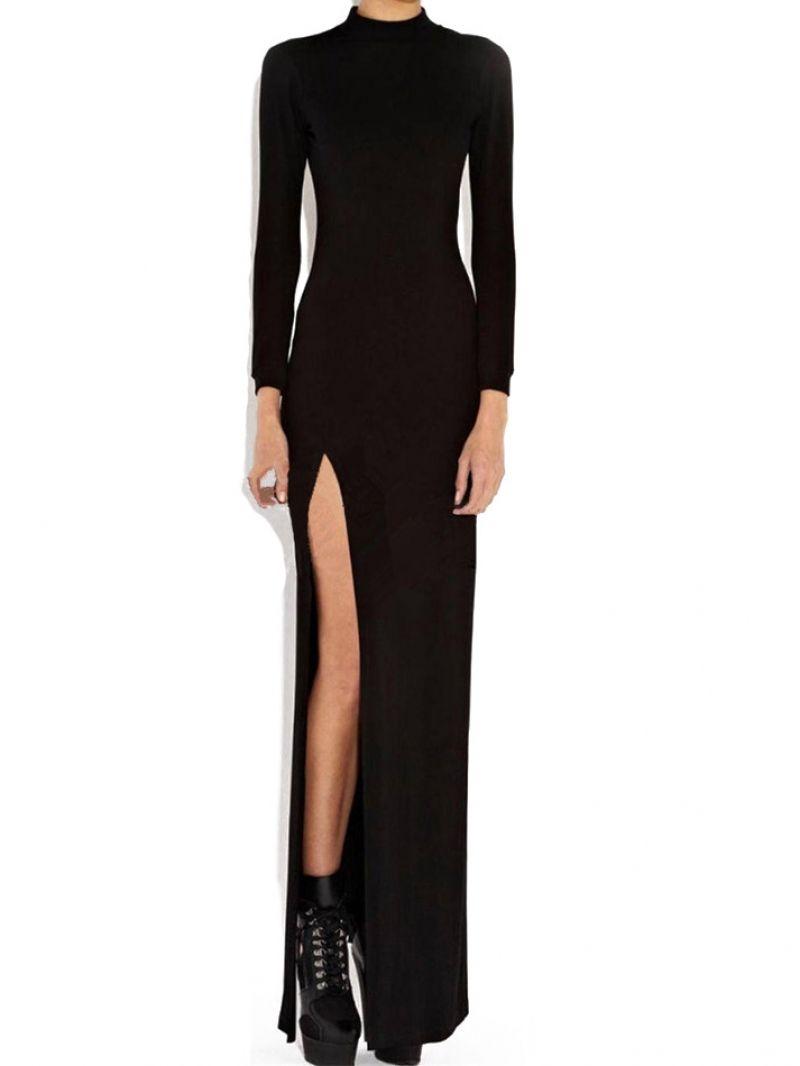 Polo neck high slit open back black dress long sleeve maxi maxi
