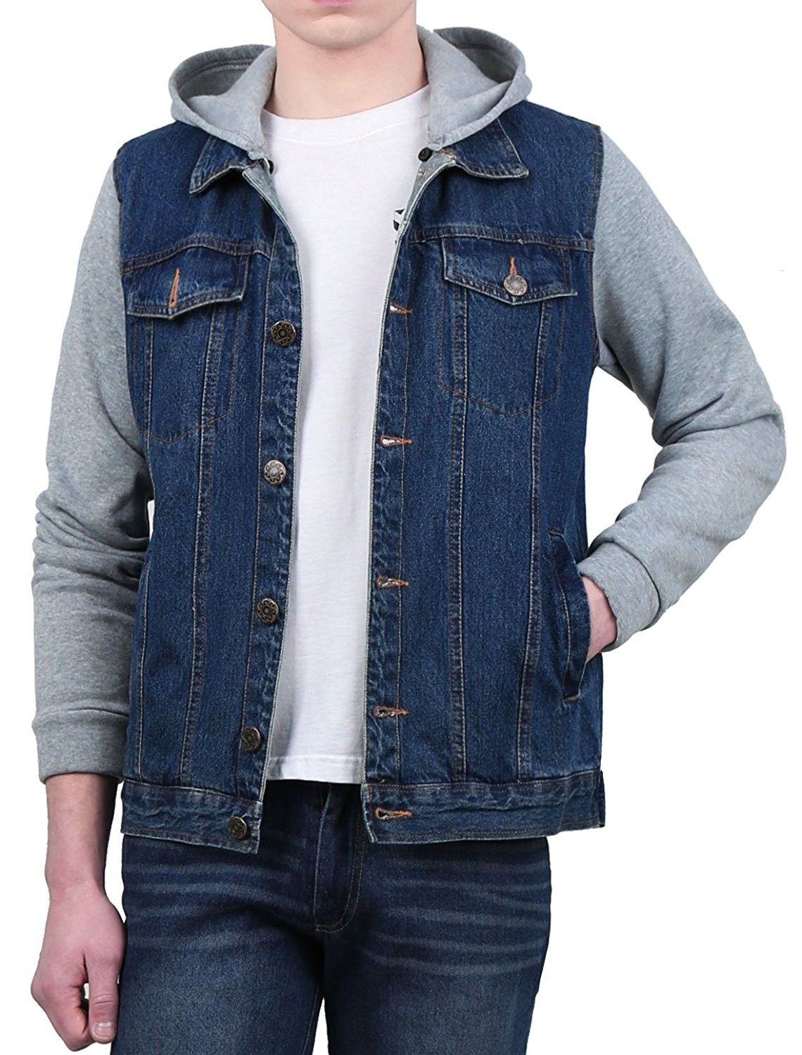 e369b1ad33 Men Removable Hood Single Breasted Long Sleeves Denim Hoodies Jacket - Blue  - C112O6SEJ7V