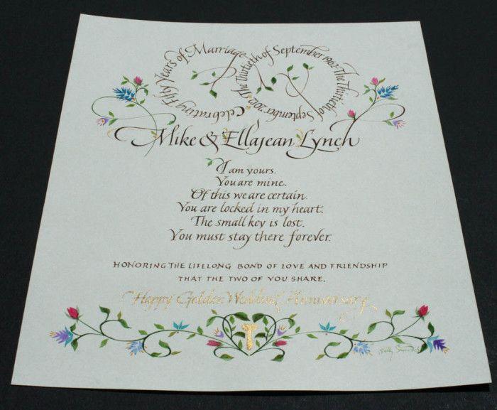 SallysandersCom  Anniversary Certificate  Calligraphy Layout
