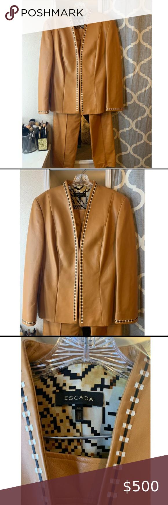 Escada Leather Pant Suit Escada Jacket Clothes Design Leather Pant [ 1740 x 580 Pixel ]