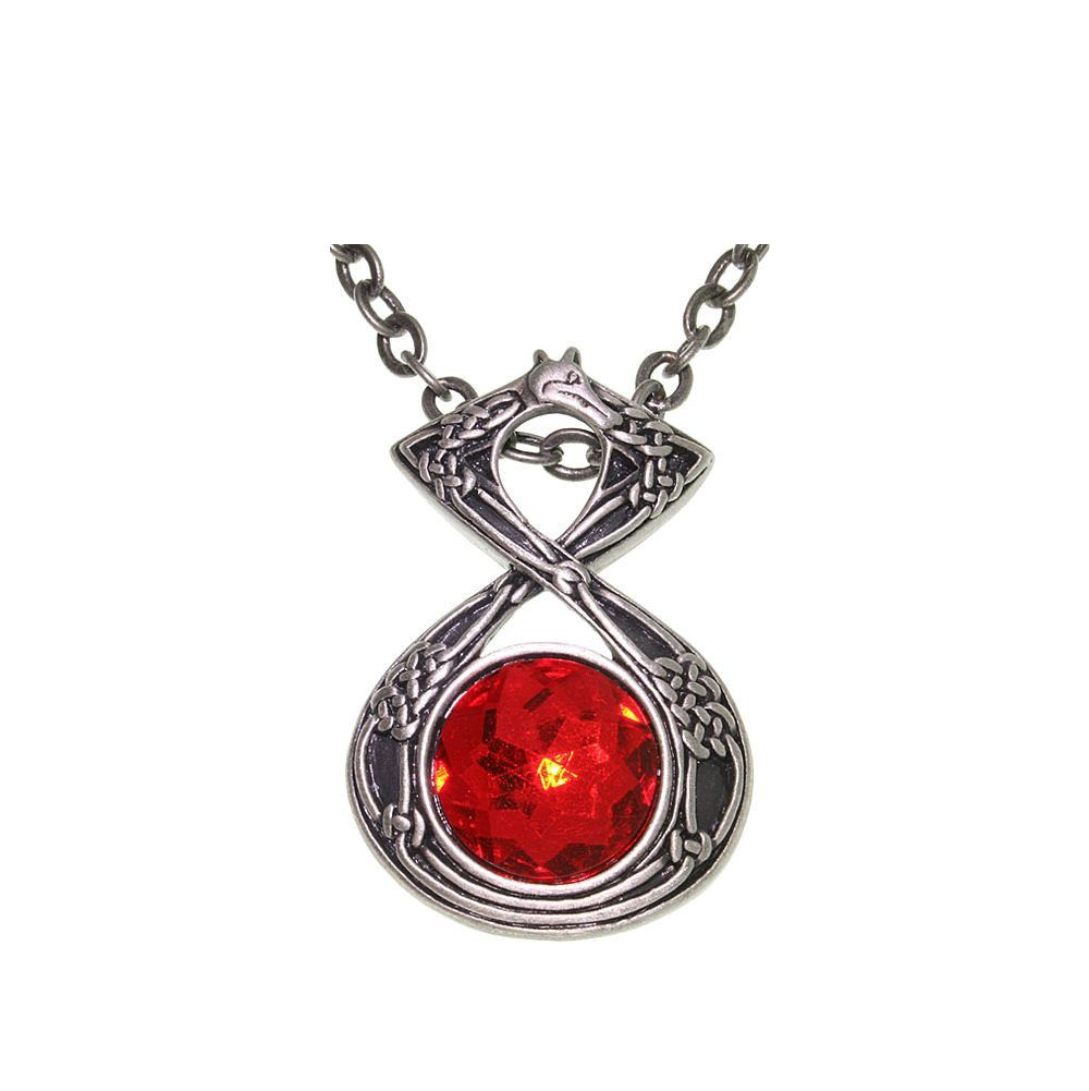 Pewter celtic dragon with red orb energy pendant on inch chain
