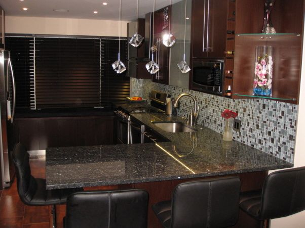 Contemporary Wenge Kitchen With Blue Pearl Granite Counter Tops Mosaic Gl Tile Backsplash In Grey Color Matches The Countertop