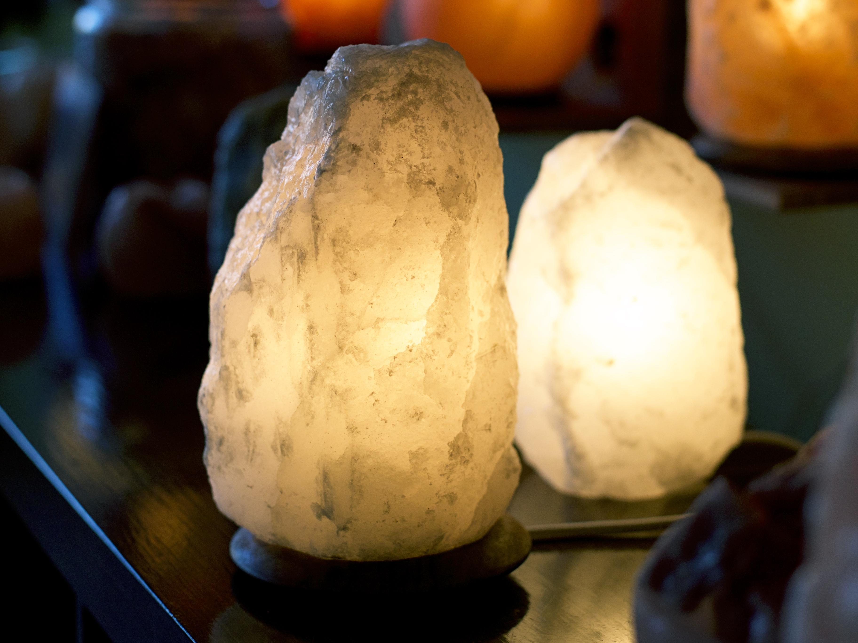 Natural Cut Himalayan Salt Lamp With Wooden Base Home