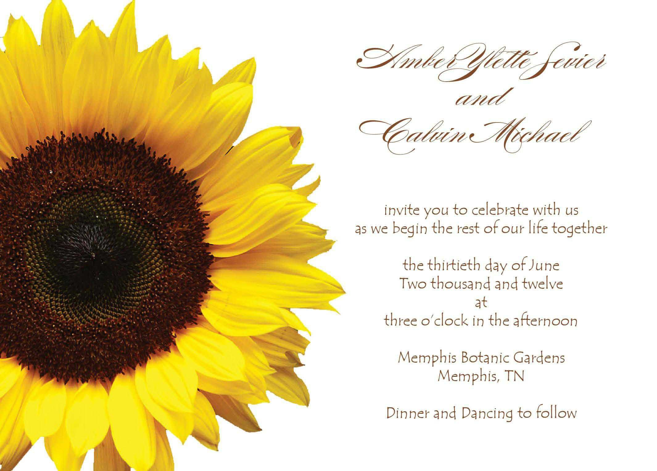 Wedding Invitation Wedding Invitations Templates Invitations - Sunflower wedding invitations templates