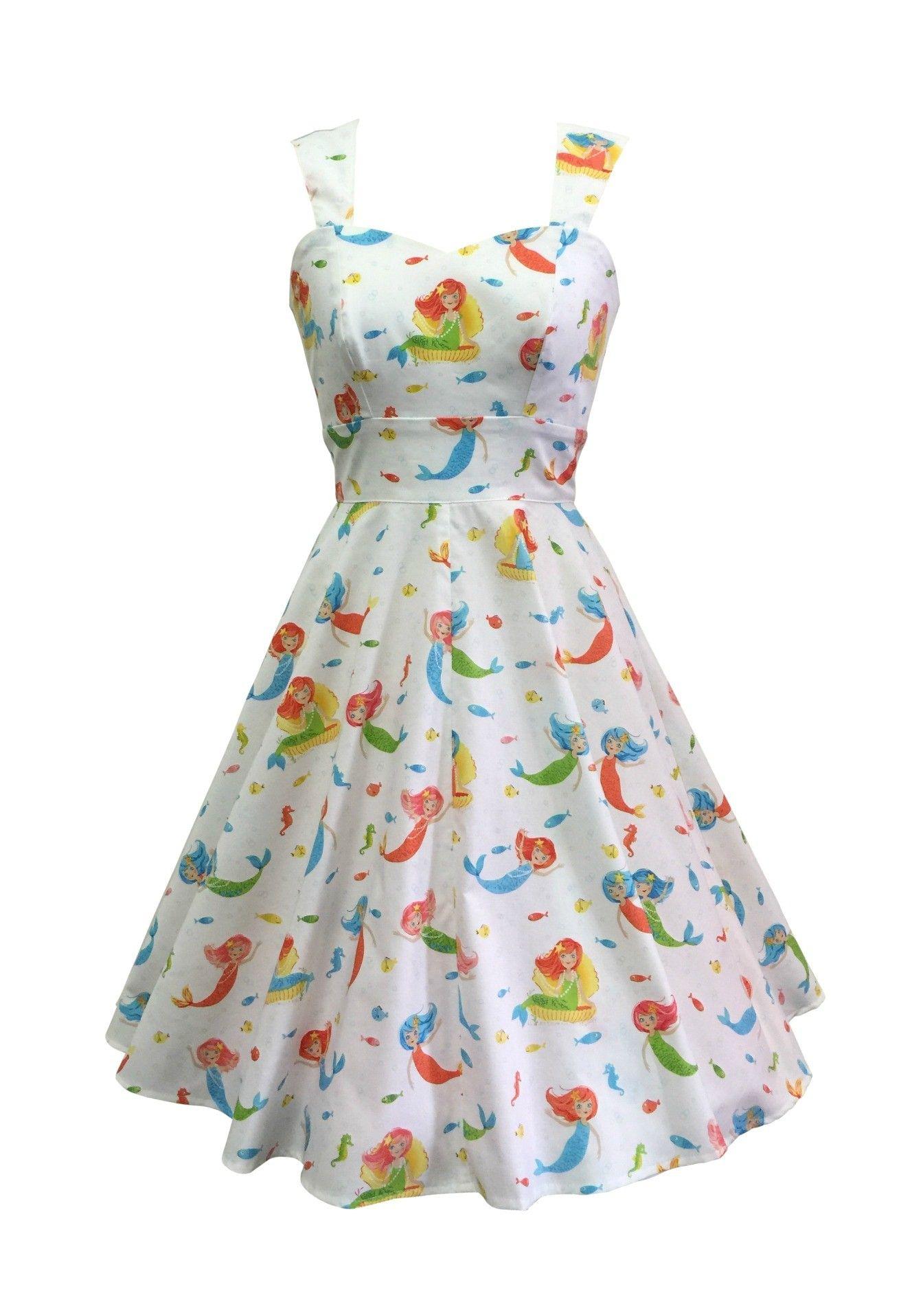 a0840d363de5 Mermaid print | swing dress | 50s style dressses | Fashionworks in ...