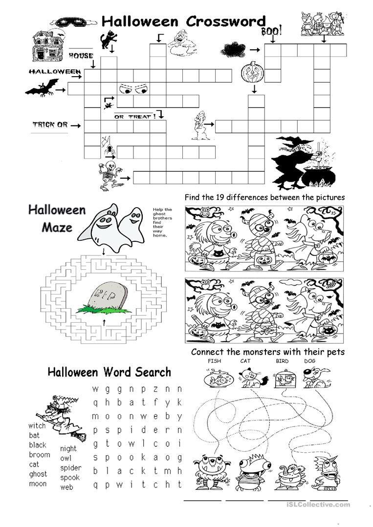 Halloween Different Games Worksheet Free Esl Printable Worksheets Made By Teachers Halloween Worksheets Halloween Lesson Halloween Worksheets Free
