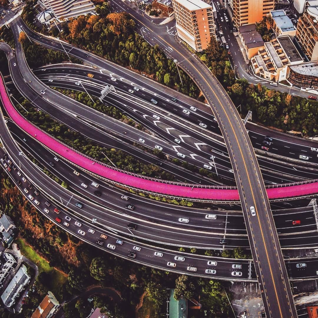 Road Noddles Auckland Newzealand Traffic Aerial Drone Photography
