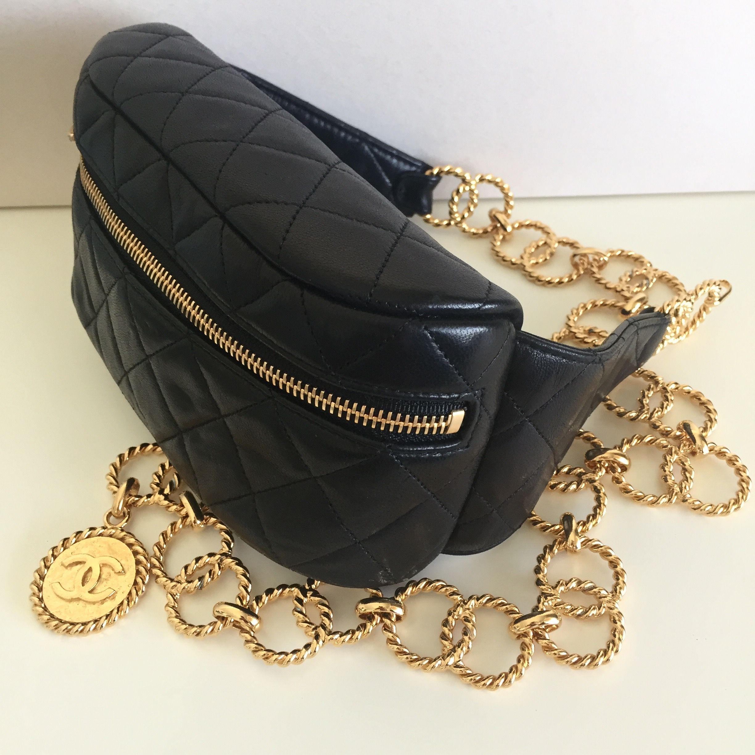9f0b4a32 Vintage CHANEL Waist Bag with chain belt | Coco Chanel